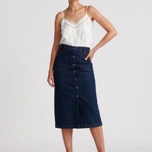 NEW Lucky Brand Button Through Midi Skirt in Denim